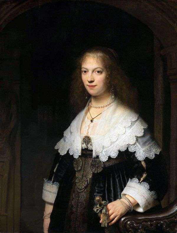 玛丽亚之旅的肖像   伦勃朗哈门斯范莱茵