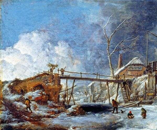 与一座木桥的冬天风景   飞利浦Vauverman