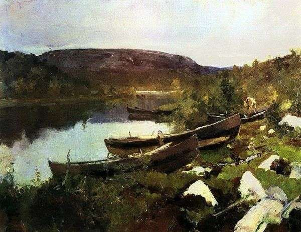 圣Tryphon小河在Pechenga   Konstantin Korovin