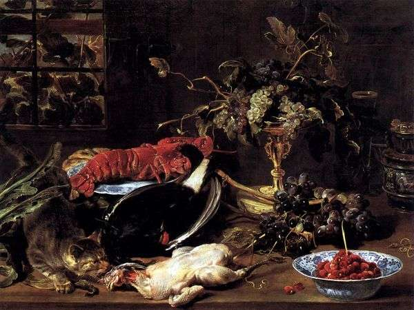 静物与饥饿的猫,龙虾和水果   弗兰斯斯奈德斯