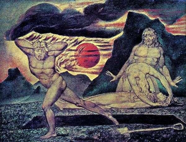 亚当和夏娃找到了亚伯的身体   威廉布莱克