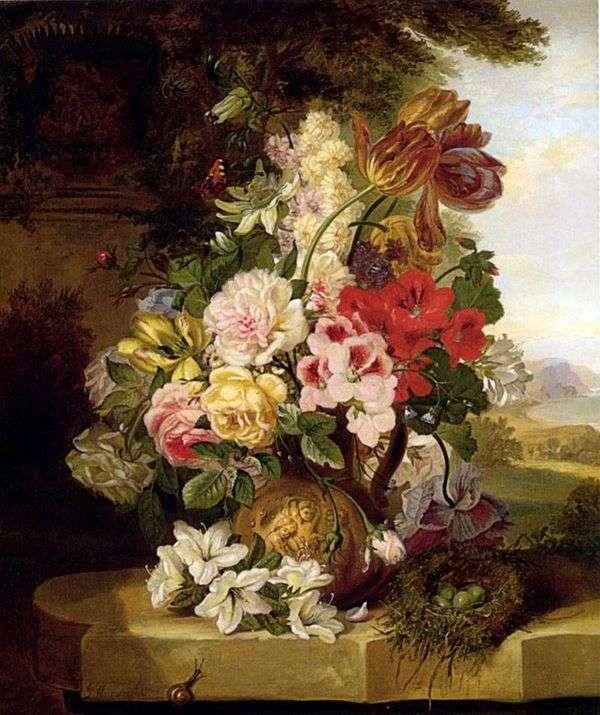 郁金香,玫瑰,其他花卉和蝴蝶的静物   John Weinwright