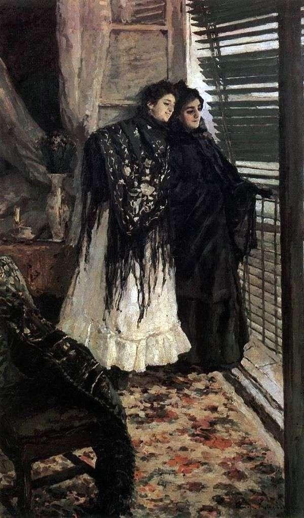 在阳台上。西班牙女性Leonora和Ampara   Konstantin Korovin