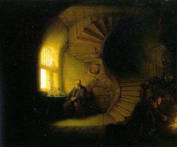 哲学家在他的房间里冥想   伦勃朗哈门斯范莱茵