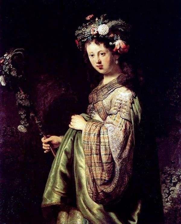 Saskia(Flora)   伦勃朗Harmens Van Rhine
