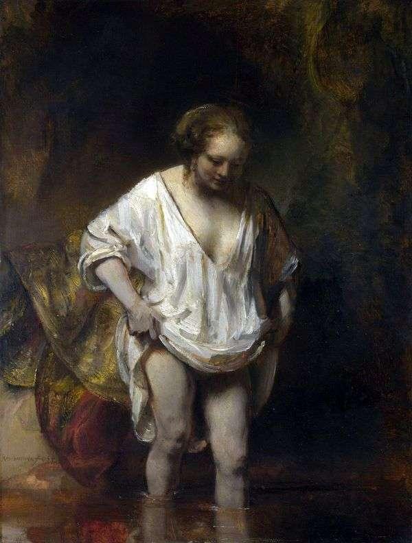 沐浴女人(亨德里克,进入河)   伦勃朗哈门斯范莱茵