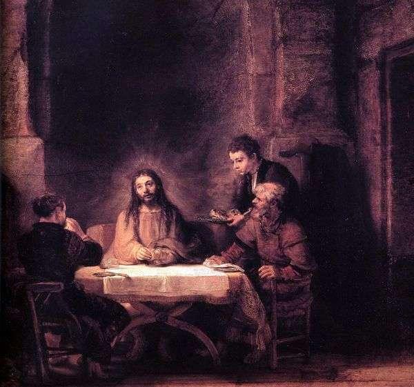 基督在以马us斯   伦勃朗哈门斯范莱茵