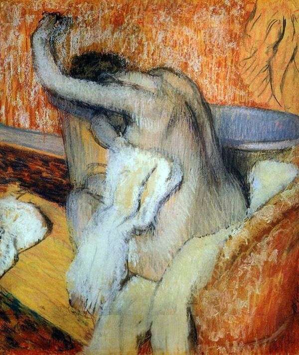 一个女人用毛巾擦拭自己   埃德加德加