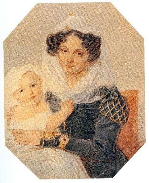 Volkonskaya玛丽亚Nikolaevna画象与她的儿子尼古拉   彼得Sokolov