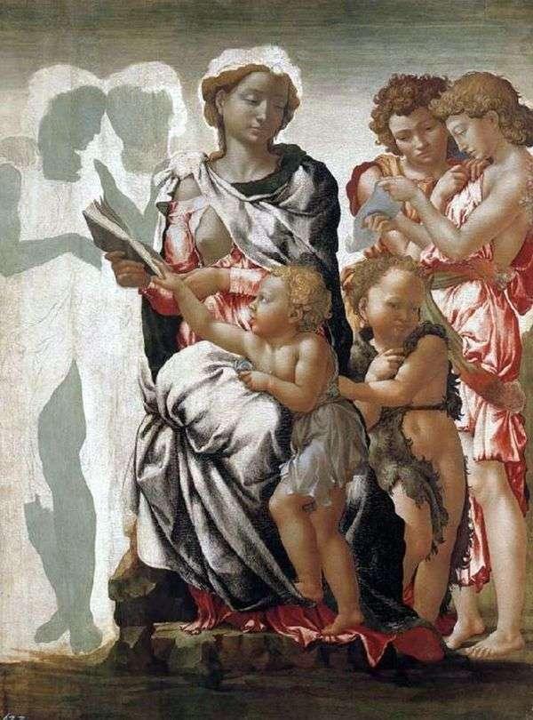 麦当娜和儿童,施洗约翰和天使   米开朗基罗Buonarroti