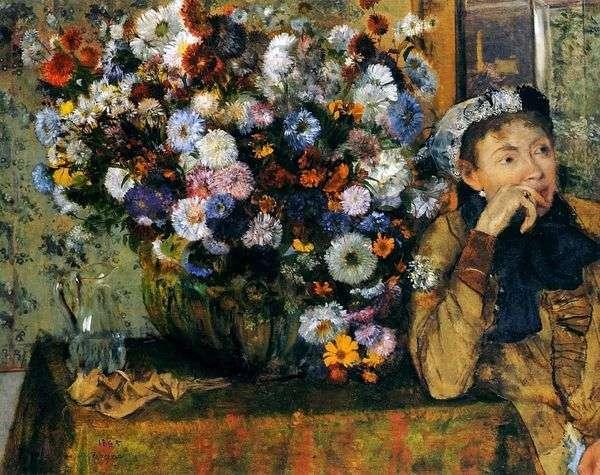 坐在有花的花瓶的妇女   埃德加德加