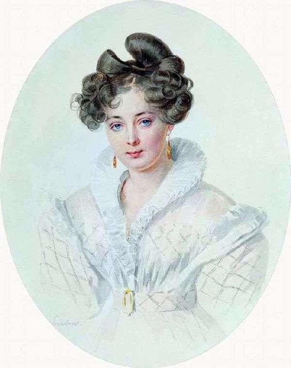 一名未知的妇女的画象一件白色礼服的(S. A. Urusova)   彼得Sokolov