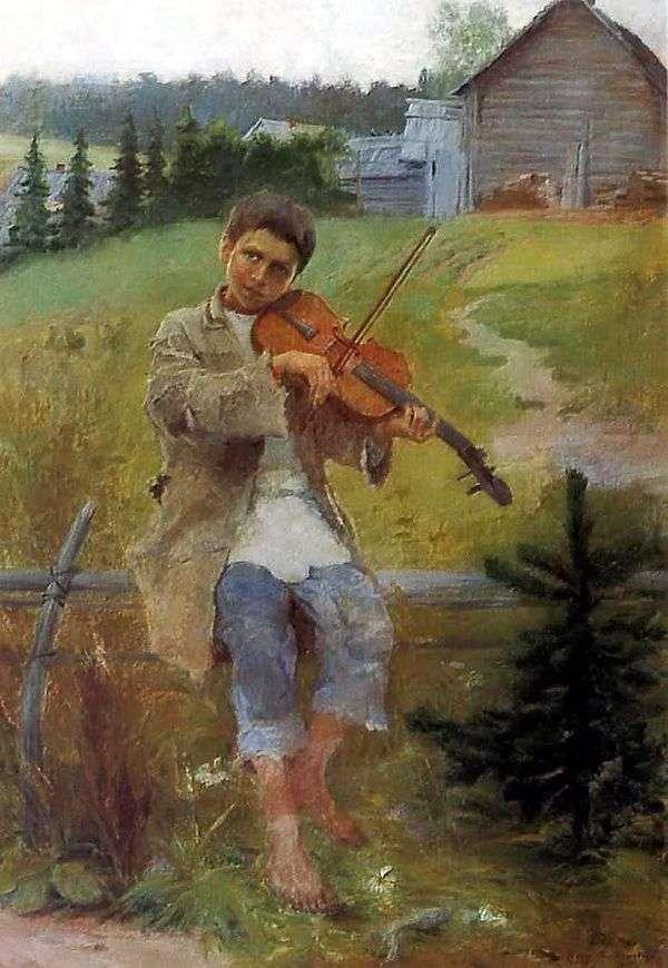 一个男孩用小提琴   尼古拉 彼得罗维奇 波格丹诺夫 贝尔斯基