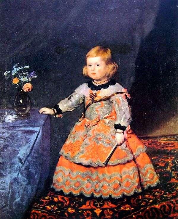 Infanta玛格丽塔的画象在一件红色礼服的   Diego Velasquez