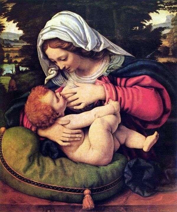 麦当娜带着绿色的枕头   安德烈 索拉里奥