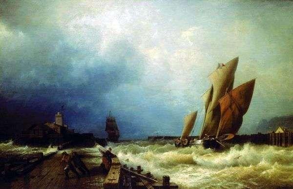 一艘渔船的入口对一场风暴的在圣瓦莱里港口在Co.   阿列克谢Bogolyubov