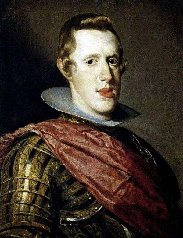 西班牙国王菲利普四世穿着盔甲的肖像   Diego Velasquez
