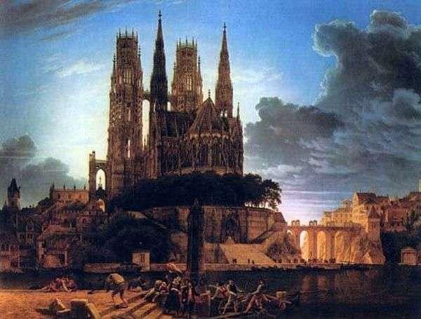 岸上的哥特式大教堂   卡尔弗里德里希Schinkel