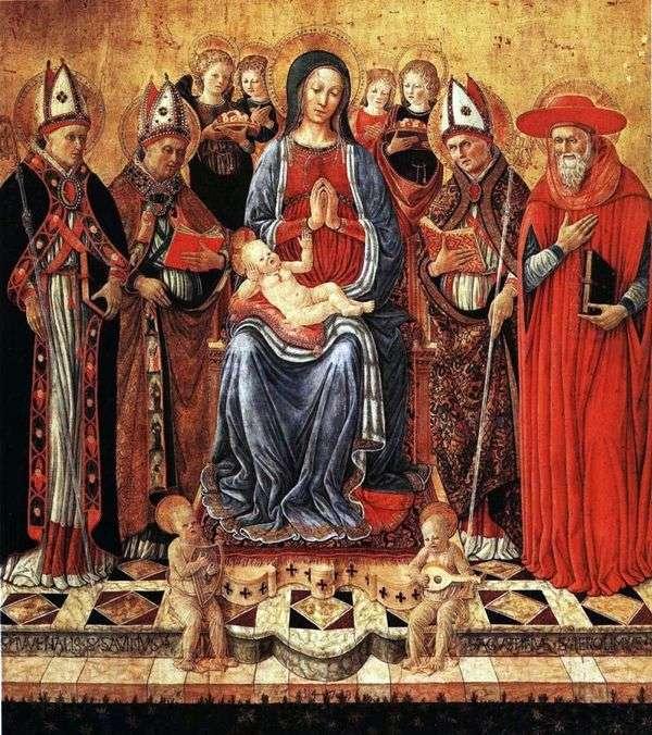 玛丽宝宝坐在宝座上,周围是圣徒Juvenalius,Sabine,Augustine,Jerome和六位天使   Giovanni Boccati
