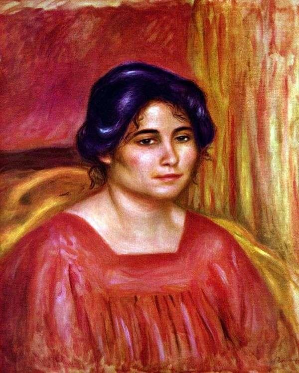 加布里埃尔穿着红色上衣   皮埃尔 奥古斯特 雷诺阿