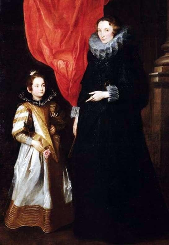 与女儿Maria Aurelia   Anthony Van Dyck的Jeronimy Brignole Sale的肖像