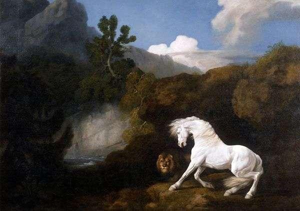 白马,被狮子吓坏了   乔治斯塔布斯