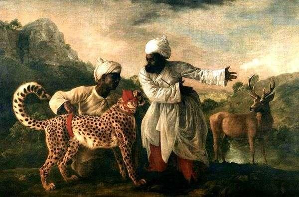 猎豹和鹿与两个印第安人   乔治斯塔布斯
