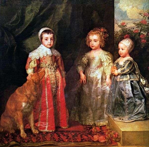Charles I的三个大孩子的肖像   Anthony Van Dyck