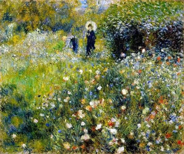 有一把伞的妇女在庭院里   皮埃尔奥古斯特雷诺阿