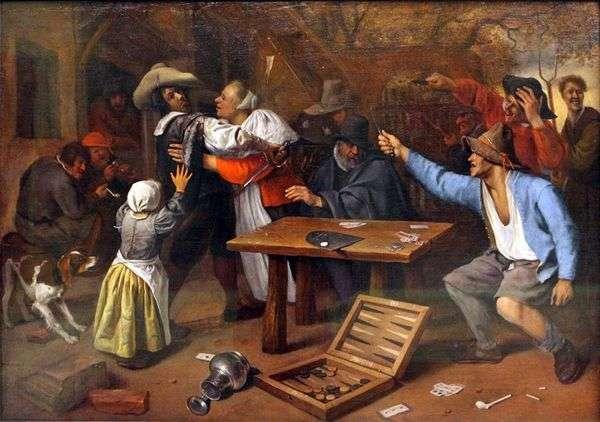 纸牌游戏争论   Jan Steen