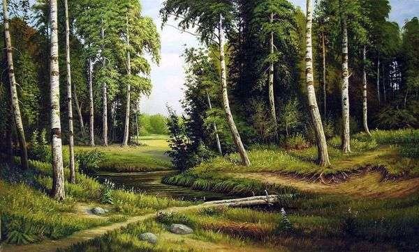 小河在桦树森林   伊冯Shishkin