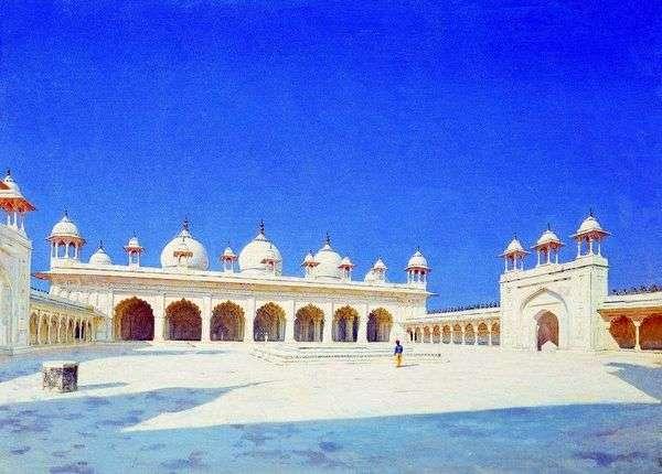 Moti Masjid(珍珠清真寺)在阿格拉   瓦西里Vereshchagin