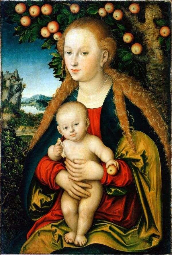 麦当娜和孩子在苹果树下   Lukas Cranach