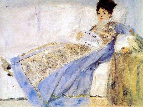克劳德 莫奈的妻子画象在长沙发的   皮埃尔奥古斯特雷诺阿