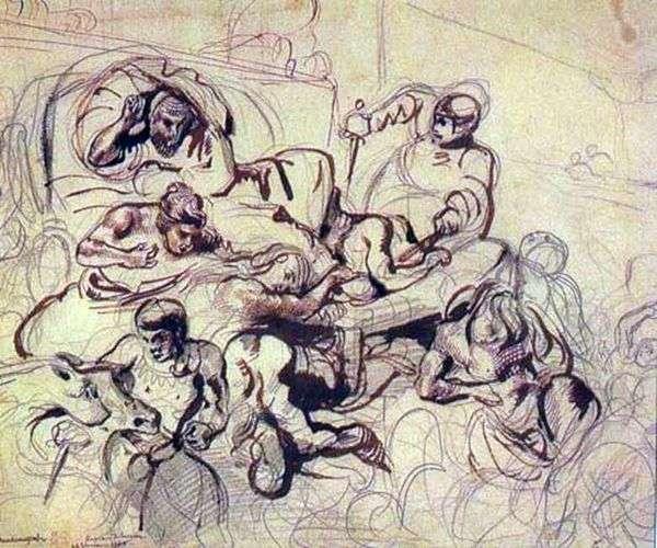 绘画素描萨达纳帕拉之死   尤金德拉克罗瓦