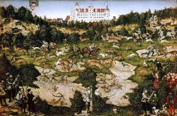 在Torgau城堡附近的查理五世国王鹿狩猎   Lukas Cranach