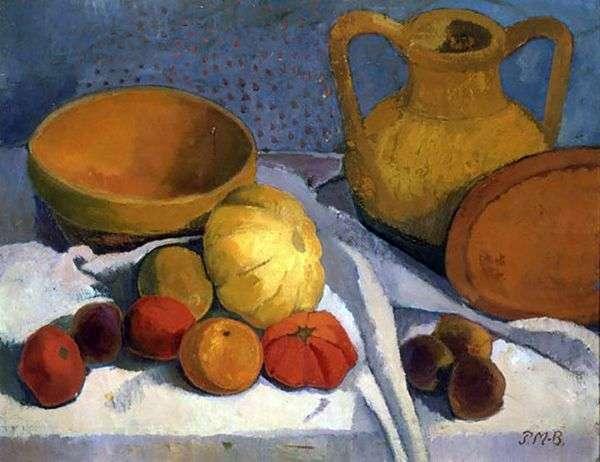 静物与黄色的球和陶器壶   宝拉摩登森贝克尔