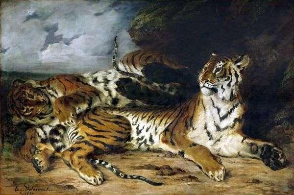 虎崽和他的母亲一起玩   尤金德拉克罗瓦