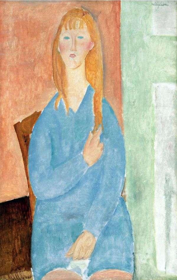 一件蓝色礼服的女孩   Amedeo Modigliani