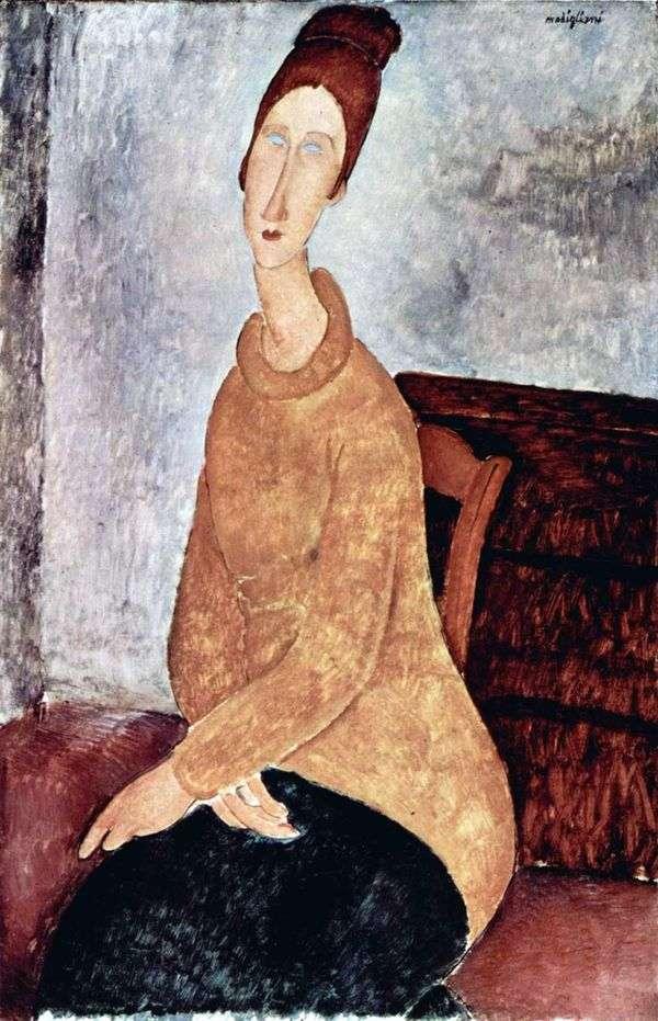 Jeanne Hebuterne身穿黄色毛衣   Amedeo Modigliani