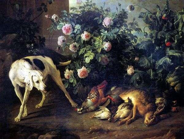 静物与狗和蝙蝠游戏在rosebush   弗朗索瓦驱逐出境