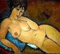 裸体在蓝色枕头   Amedeo Modigliani
