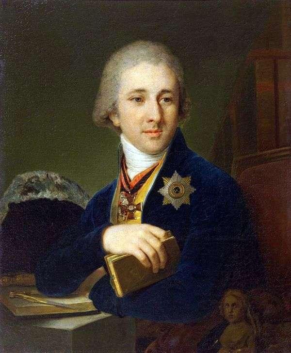 作家,共济会亚历山大F. Labzin在蓝色长衫   弗拉基米尔Borovikovsky的肖像
