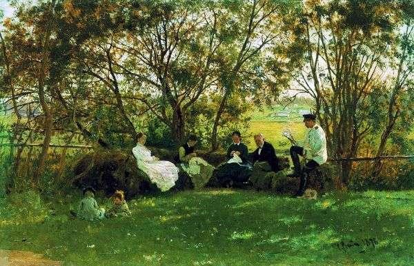 在草坪的长凳上   伊利亚 列宾