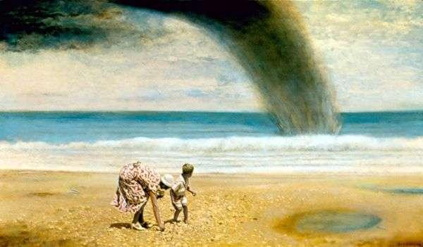 妈妈和我在1936年在佛罗里达州代托纳海滩收集贝壳   盖伊约翰逊