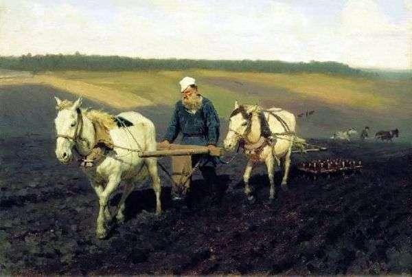 农夫。Leo Tolstoy在耕地上   伊利亚 列宾