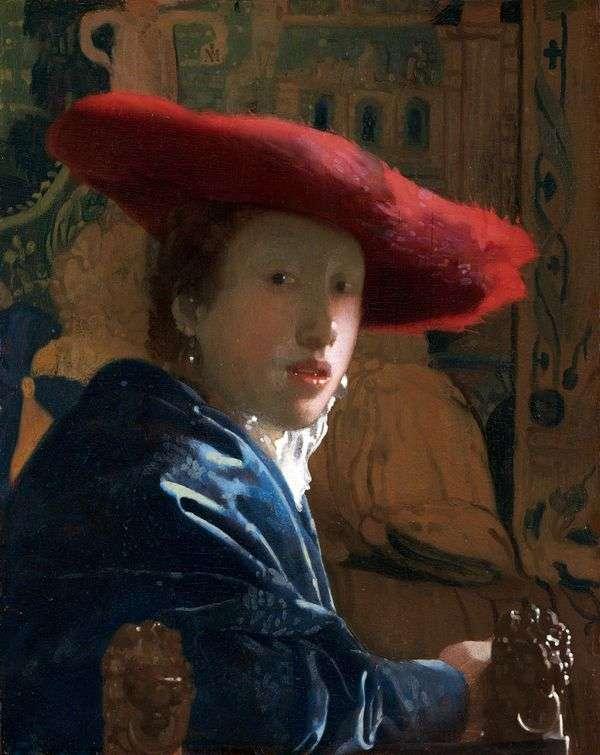一个女孩的画象红色的   Jan Vermeer
