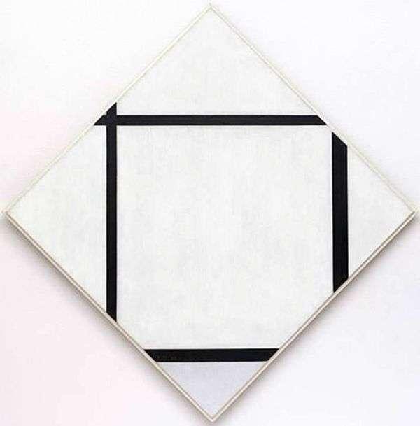 灰色钻石有四条线   Peter Cornelis Mondrian