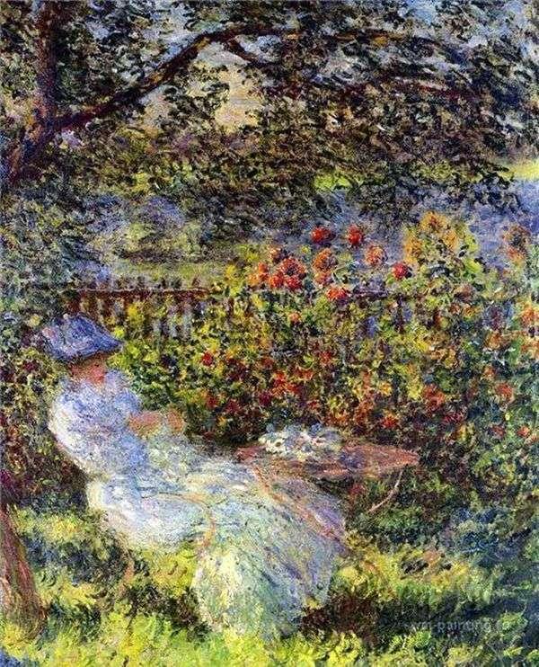 花园里的Alice Hoshede   Claude Monet