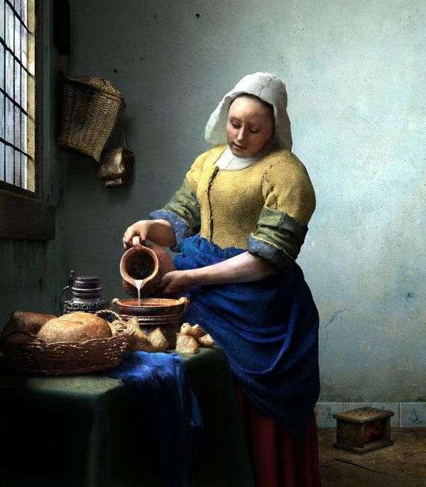 女佣用一罐牛奶   Jan Vermeer